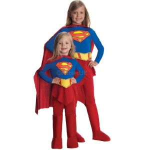 Childrens Deluxe Supergirl Fancy Dress Costume - Toddler, S, M & L