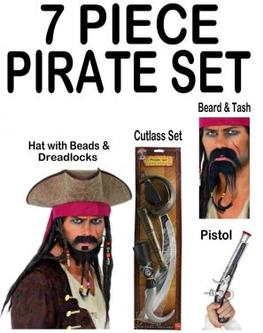 Pirate Fancy Dress Ultimate 7 Piece Set