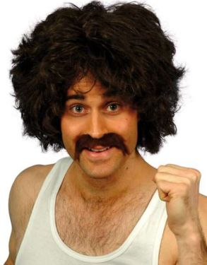 118 118 Man Wig & Tash Fancy Dress Set