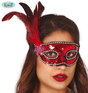 Red Sequin Masquerade Ball Mask