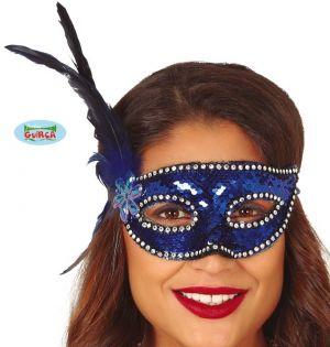 Blue Sequin Masquerade Ball Mask