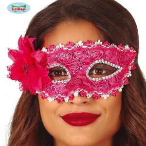 Masquerade Ball Pink Embroidered Sequin Mask