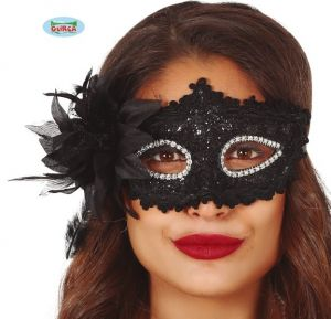 Masquerade Ball Black Embroidered Sequin Mask