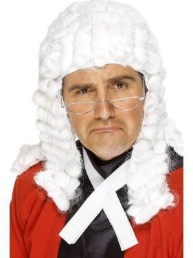 Mens Fancy Dress Deluxe Judge Barrister Wig