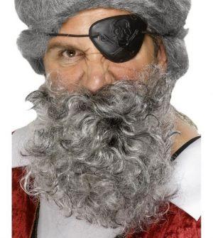 Curly Pirate Fancy Dress Beard - Grey