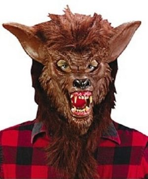 Halloween Deluxe Brown Werewolf Mask with Teeth