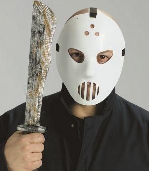 Halloween Fancy Dress Hockey Mask & Machete Set