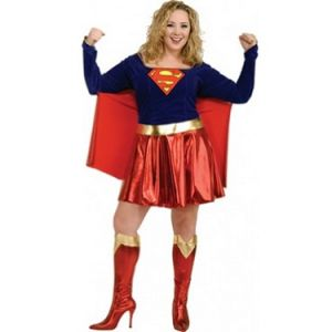 Superhero Fancy Dress - Supergirl Costume with Cape - Plus Size 14-16