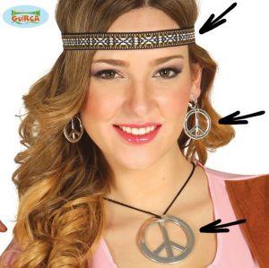 60s Hippy CND Peace Headband, Necklace & Earring Set