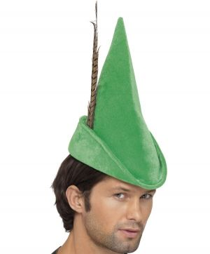 Robin Hood Hat with Feather - Green