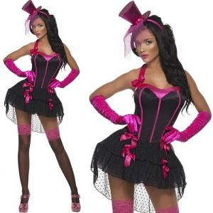 Ladies Bow Burlesque Costume - Black/Pink