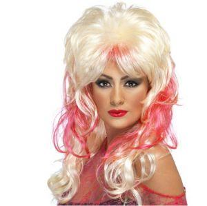 80s Popstar Fancy Dress Wig - Blonde/Pink