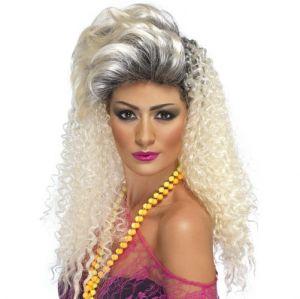 80s Bottle Blonde Crimp Fancy Dress Wig - Blonde/Roots