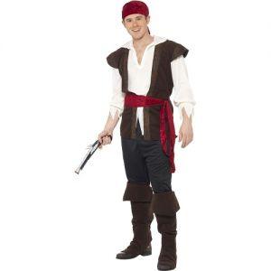 Mens Caribbean Pirate Fancy Dress Costume - M, L & XL