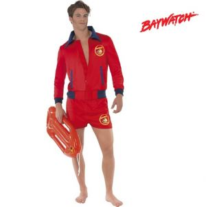 1980s Mens Baywatch Lifeguard Fancy Dress Costume - Zip Top & Shorts