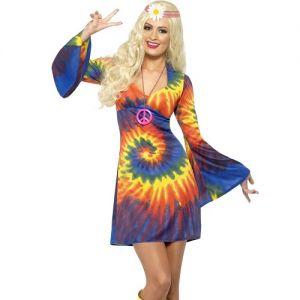 Ladies 60s Tie Dye Hippy Fancy Dress Costume - S, M or L