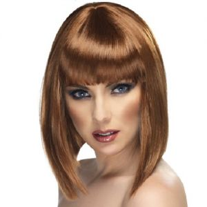 80's Fancy Dress Glam Wig with Fringe - Brown