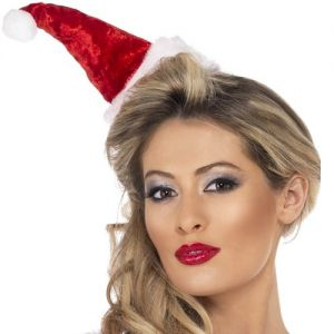Christmas Mini Santa Hat on Band - Red/White
