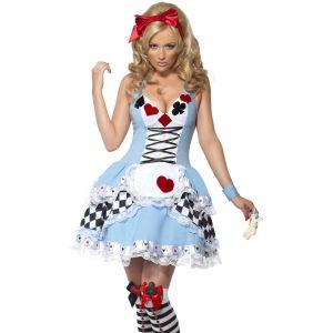 Ladies Miss Wonderland Fancy Dress Costume - Blue/White - S, M or L