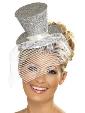 Ladies Fancy Dress - Mini Top Hat on Band - Silver
