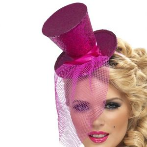 Ladies Fancy Dress - Mini Top Hat on Band - Pink