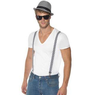 80s Fancy Dress - SKA Two Tone Hat & Braces Set