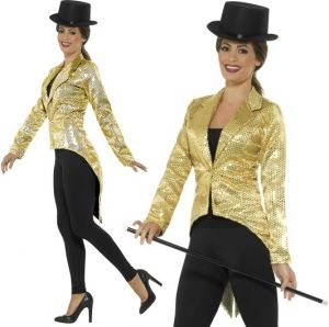 Ladies Gold Sequin Tailcoat Fancy Dress Jacket