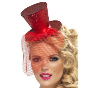 Ladies Fancy Dress - Mini Top Hat on Band - Red