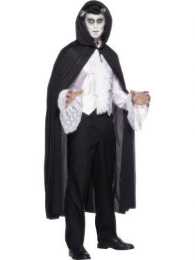 Halloween Hooded Fabric Vampire Cape - Black