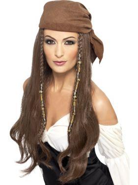 Ladies Pirate Lady Fancy Dress Wig & Scarf