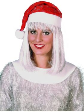 Christmas Fancy Dress Santa Hat with Tinsel Snowflake Design
