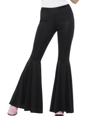 Ladies 60s Fancy Dress Flared Trousers - Black
