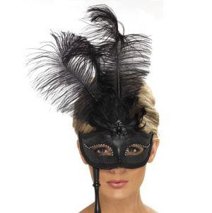 Masquerade Ball Baroque Mask - Black