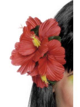 Hawaiian Fancy Dress Flower Hairclip - Red