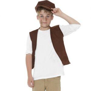 Childrens Victorian Poor Boy Urchin Waistcoat & Hat Set