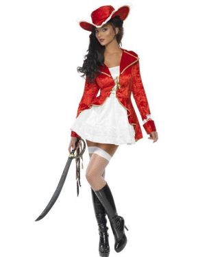Ladies Sexy Fever Sultry Pirate Costume - S, M & L
