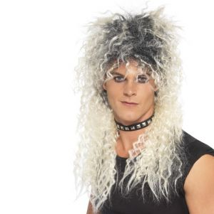 80s Hard Rocker Fancy Dress Wig - Blonde/Roots