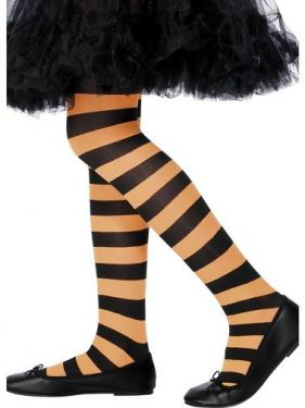 Childrens Halloween Fancy Dress Striped Tights - Orange/Black