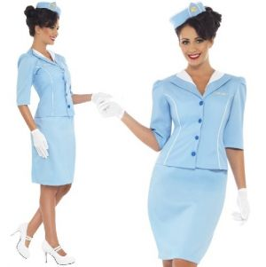 Ladies Air Hostess Cabin Crew Fancy Dress Costume