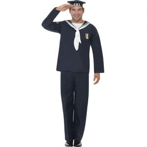 Mens Naval Seaman Sailor Fancy Dress Costume