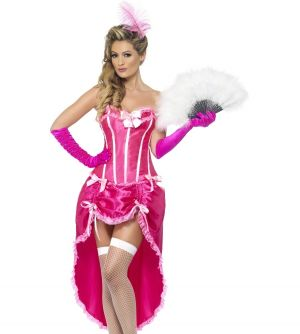 Ladies Burlesque Dancer Fancy Dress Costume - Cerise/Pink