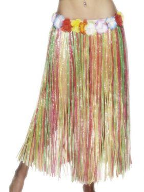 Long Hawaiian Hula Skirt Fancy Dress - multi