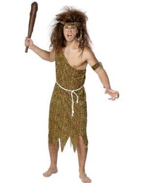 Mens Velour Caveman Fancy Dress Costume - M & L