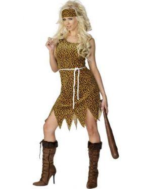 Ladies Velour Tunic Cavewoman Costume - S, M & L