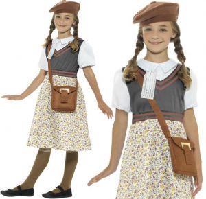 Girls Schoolgirl Evacuee Fancy Dress Costume