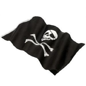 Pirate Fancy Dress Flag - Jolly Roger - Black/White