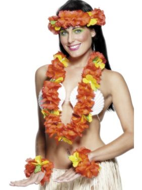 Hawaiian Fancy Dress - Deluxe Lei Set - Red