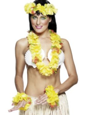 Hawaiian Fancy Dress - Deluxe Lei Set - Yellow