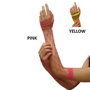 80's Fancy Dress - Long Diamond Fishnet Gloves - Neon Pink or yellow