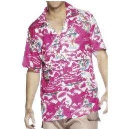 Mens Fancy Dress - Hawaiian Shirt - Bright Pink - M & L